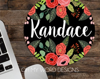 Personalized Mouse Pad-Monogram Mouse Pad-Desk Accessories-Watercolor Flowers-Round Mouse Pad-Desk Accessories