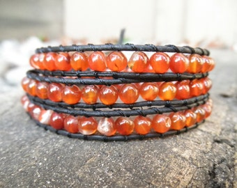 Triple Red Agate and Leather Wrap Bracelet