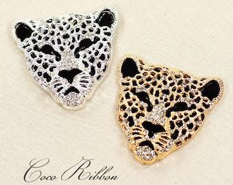 54mm Alloy Rhinestone Crytal Leopard Cheetah Flatback Cabochon Embellishment 2~4 pieces