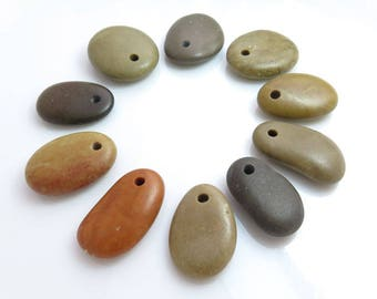 Top Drilled Beach Stones 10 pcs Jewelry Supplies Eco Friendly Beads Beach Pebbles for Crafts DIY Mobile