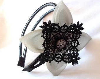 Black Braided Suede Double Headband with Giant Kanzashi Flower and Lace Statement Headpiece Headdress