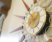 "30"" Vintage Starburst Wall Clock Elgin - Sunburst Atomic Eames Era Mid Century Modern 1950's 60's"