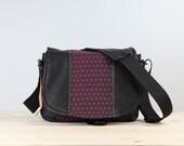 Medium- Purple Hash Leather Camera Satchel Bag DSLR- IN-STOCK