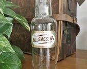 Rare Antique Label Under Glass Apothecary Sassafras Oil Bottle