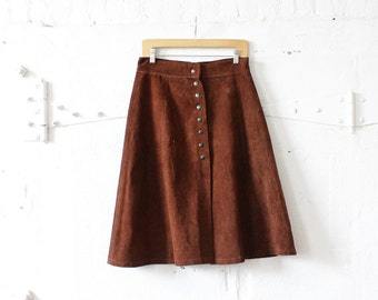 Brown Suede Skirt M • A Line Skirt • 60s Skirt • Leather Skirt • Knee Length Skirt • Brown Skirt • Boho Skirt • Midi Skirt | SK687