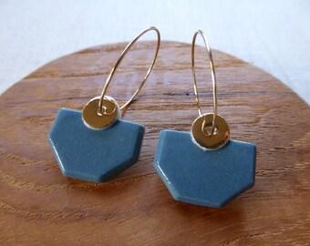 Half Octagon Hoop Earrings