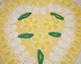 Pretty Yellow Plush Heart with Flowers and Curlicues Vintage Chenille Bedspread Fabric Piece