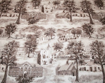 "Very Rare Warm Grey or Sepia Grandma Moses ""Williamstown Toile"" Unused Vintage Barkcloth - 47 by 35  Inches"