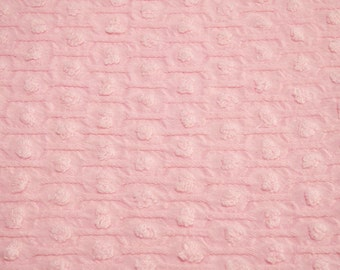 24 x 24 Inches - Cotton Candy Pink Popcorn Honeycomb Woven Cotton Morgan Jones Vintage Chenille Bedspread Fabric Piece
