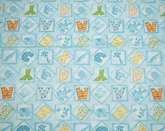 """Adorable Blue """"BFFs - Baby's First Friends"""" ABCs and Sweet Animals OOP New Fabric - 2 Yards, 44-Inch Wide Piece"""