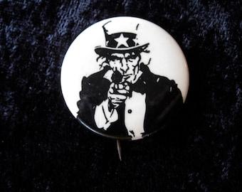 Uncle Sam Wants You With a Gun Sixties Peace Pinback Button Original counterculture Anti Vietnam War Movement