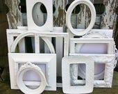 RESERVED SSTEPHANY Set of 13 Shabby Chic Bright White Picture Frames for Gallery Wall, Wedding Decor, Nursery Decor