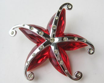Vintage Swarovski Crystal Red Jeweled Starfish Silver Brooch Pin with Swan Hallmark