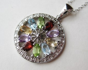 Vintage Sterling Silver Jeweled Garnet Amethyst Peridot Aquamarine & Topaz Pendant Necklace and Chain