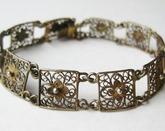 Vintage 40s Italian 800 Silver Cannetille Filigree Panel Link Bracelet