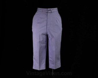 Size 0 Lavender Pant - XXS 1950s Clam Diggers - 60s Slim Tailored Light Purple Pima Cotton - 50s NWT Deadstock - Waist 23 - 47373