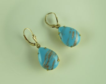 EARRINGS Vintage Aventurine  with Gold Inclusions Pear Shaped  18x13mm, Gold Plated Lever Back Earrings, Robin's Egg Blue
