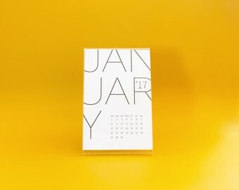 2017 Type CALENDAR - 4x6 Calendar, 2017 Desk Calendar, 2017 Wall Calendar, Typographic Sans Serif, Minimal Calendar, Gift Calendar