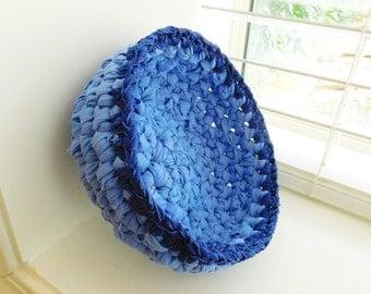 Crochet Rag Bowl-Eco Friendly-Recycled-Crocheted Rag Basket-Upcycled-Rag Basket-Blue Rag Bowl-Blue Crocheted Bowl-Trinket BowlBowl-