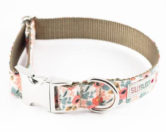 Les Fleurs Rosa Floral Peach Dog Collar - Rifle Paper Co.