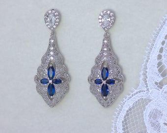Sapphire Chandelier Earrings, Blue Crystal Earrings, Crystal Bridal Earrings, Crystal Wedding Earrings,  VERA SB