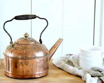 BEAUTIFUL rustic copper tea kettle pot teapot warm patina