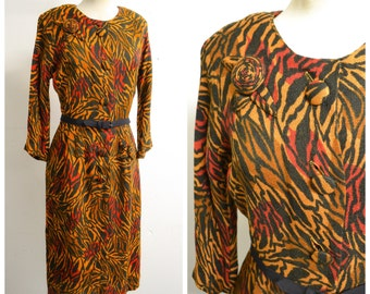 1940s Zebra print straight skirt day dress / 40s Orange brown red printed button front dress - S