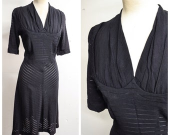 1940s Black rayon crepe sheer stripe dress / 40s bias skirt shaped bust day or evening dress - S