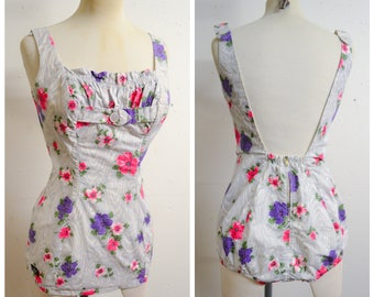 1950s Pink & purple flower print cotton swimsuit / 50s Nelbarden blue white printed ruched bathing costume - XS S
