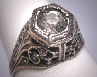 Antique White Sapphire Wedding Ring Vintage Art Deco 1920