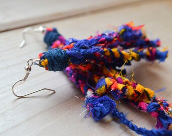 Multicoloured Repurposed Fabric Dangly Statement Earrings