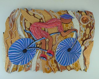 Bike a Latte Clay Wall Art 3D in Copper, Gold, Blue and Orange Polymer Clay