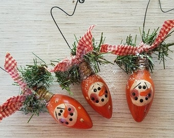 Snowman Ornament, Primitive Snowman Ornament, Christmas Light Bulb Ornament, Primitive Snowmen, Country Decor, Orange, 3""
