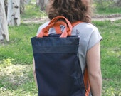 Vegan blue backpack, laptop backpack bag, fabric backpack, shopping bag , every day bag, fabric blue jeans bag, canvas backpack, canvas bag