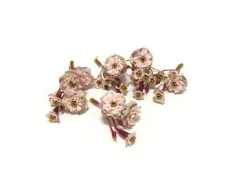 Primroses - Artificial DUSTY PINK Pom Pom Roses - Very SMALL Flowers - Silk Flower, Articicial Flowers, Flower Crown, Hair Accessories, Tutu
