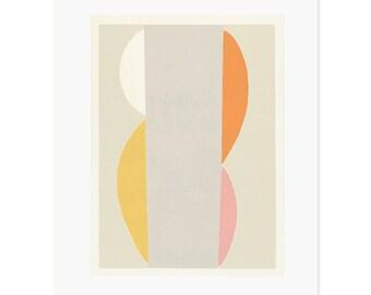 Modern art screenprint, Large silkscreen, abstract original print, pink, yellow, grey,orange. Large wall decor by Emma Lawrenson
