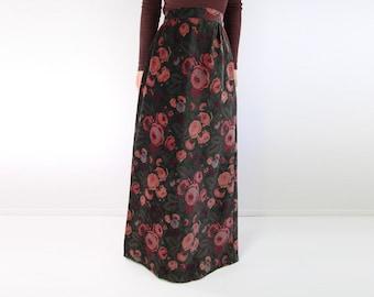 VINTAGE 1970s Velvet Maxi Skirt Rose Floral