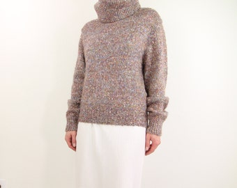 VINTAGE Mohair Turtleneck Oversized Pink Fuzzy Sweater 1980s