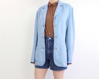 VINTAGE Linen Blazer Blue 1990s Jacket