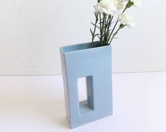 VINTAGE Modern Vase Large Blue Porcelain Shapes Cutout Rectangle