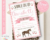 Girls Horse Invitation, Pink Horse Birthday Invitation, Horse Birthday Party, Horse Party Invitation, Girls Pink Horse Party, BeeAndDaisy