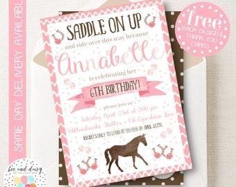Girls Horse Invitation, Pink Horse Birthday Invitation, Horse Birthday Party, Horse Party Invitation, Girls Pink Horse Party, BeeAndDaisy