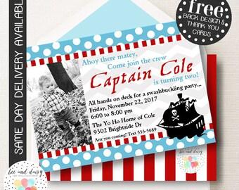 Pirate Invitation, Pirate Birthday Invitation, Pirate Party, Boy First Birthday, Boy Birthday, Pirate Invite, Pirate Photo Invitation