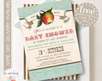 Vintage Apple Baby Shower Invitation - Apple Baby Shower Invitation - Apple of My Eye Shower Invite Apple Orchard Invitation by BeeAndDaisy