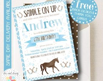 Boys Horse Invitation, Blue Horse Birthday Invitation, Horse Birthday Party, Horse Party Invitation, First Birthday Horse Party, BeeAndDaisy
