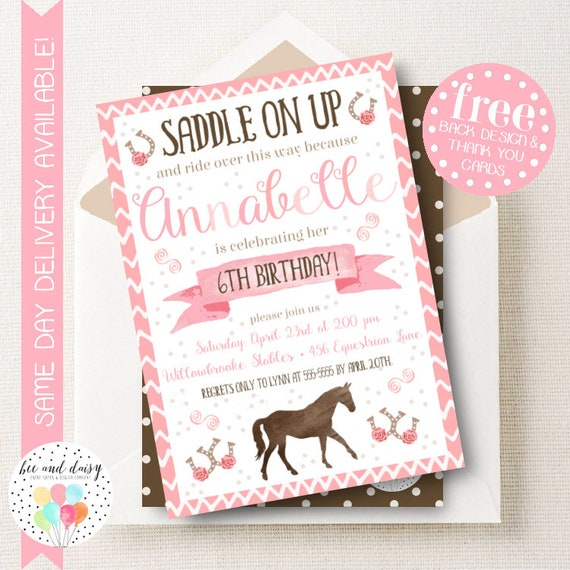 Girls Horse Invitation, Pink Horse Birthday Invitation