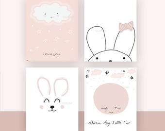 Baby girl art, Nursery wall art print, Pale Pink, Baby Room Decor, Baby Girl Nursery, Bunny, Nursery decor, baby girl art, Set of 4 prints