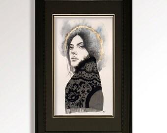 "Nova. Original, mixed media artwork with embroidery. 6.5"" x 12"""