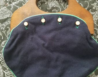 Vintage Navy Blue Wool with Green Trim Bermuda Bag Purse Wooden Wooden Handles 1960s 1970s Buttons