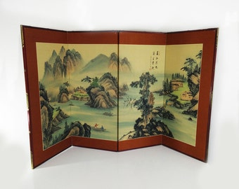 Vintage Japanese Folding Screen / Byōbu Byobu style painted divider